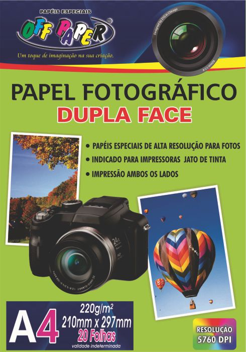 Papel Fotográfico Dupla Face A4 – 20 hojas