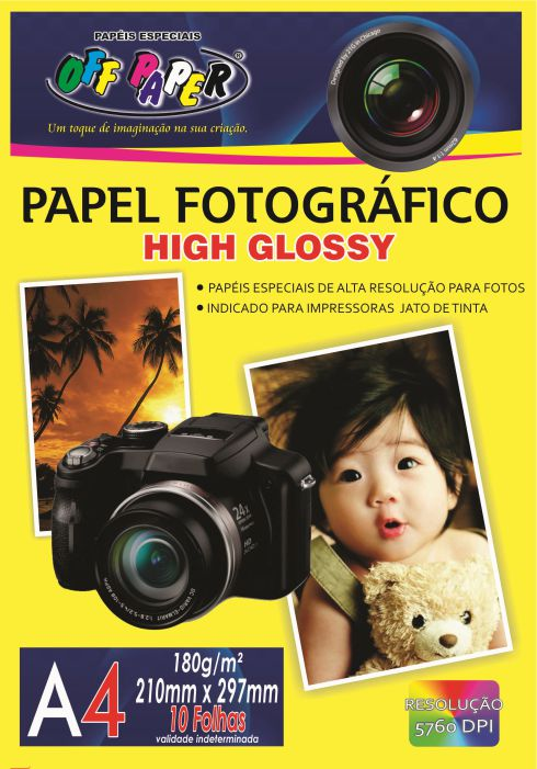 Papel Fotográfico High Glossy A4 – 10 hojas