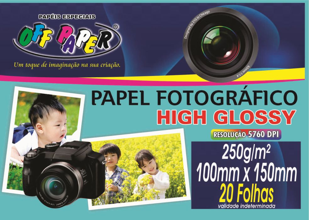 Papel Fotográfico High Glossy – 10cm X 15cm com 20 Folhas
