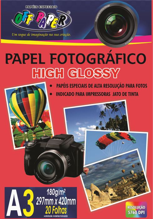 Papel Fotográfico High Glossy - A3 - 20 Folhas - 180g