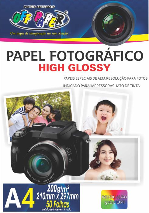 Papel Fotográfico High Glossy - A4 - 50 Folhas - 200g