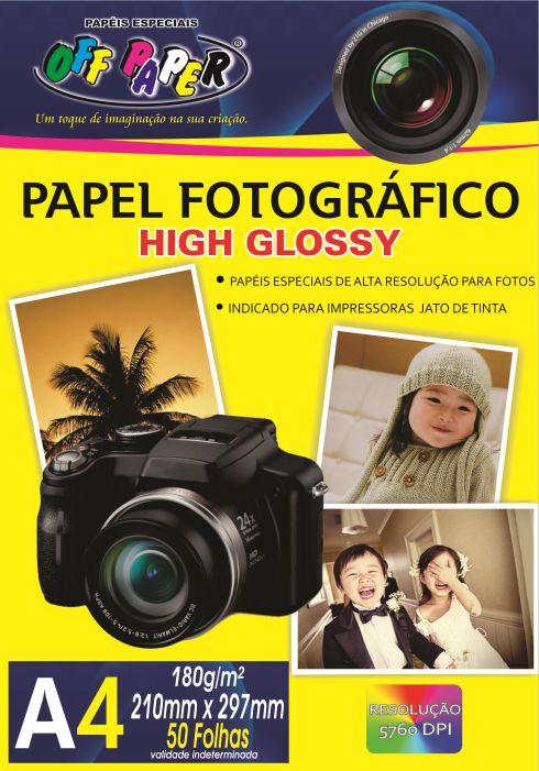 Papel Fotográfico High Glossy 180g- A4 com 50 Folhas