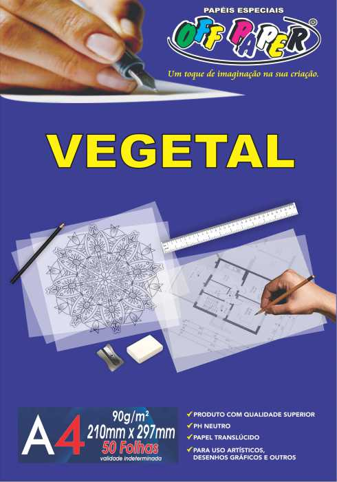 Vegetal 90g/m²- A4 com 50 folhas