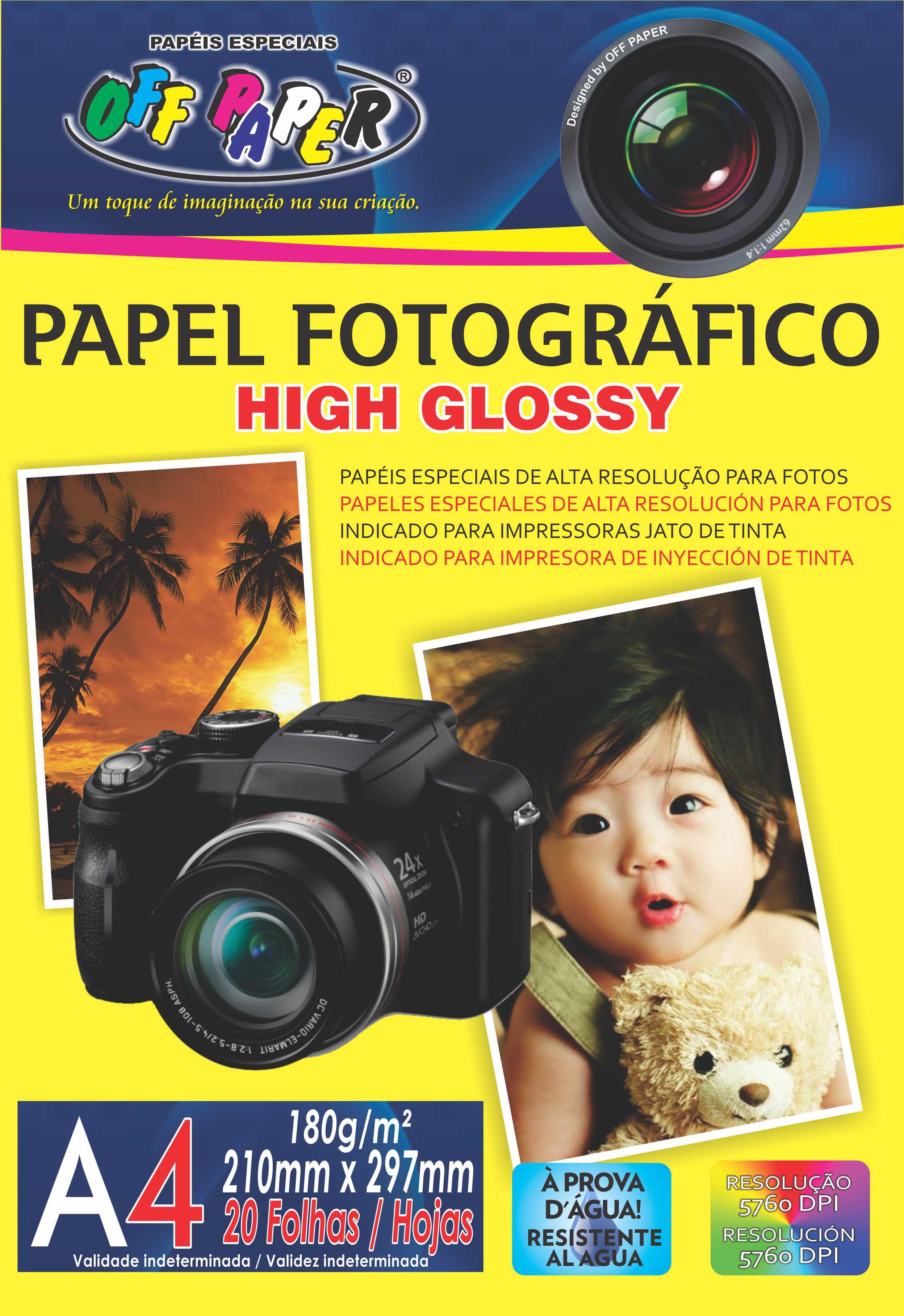 Papel Fotográfico High Glossy 180g- A4 com 20 Folhas