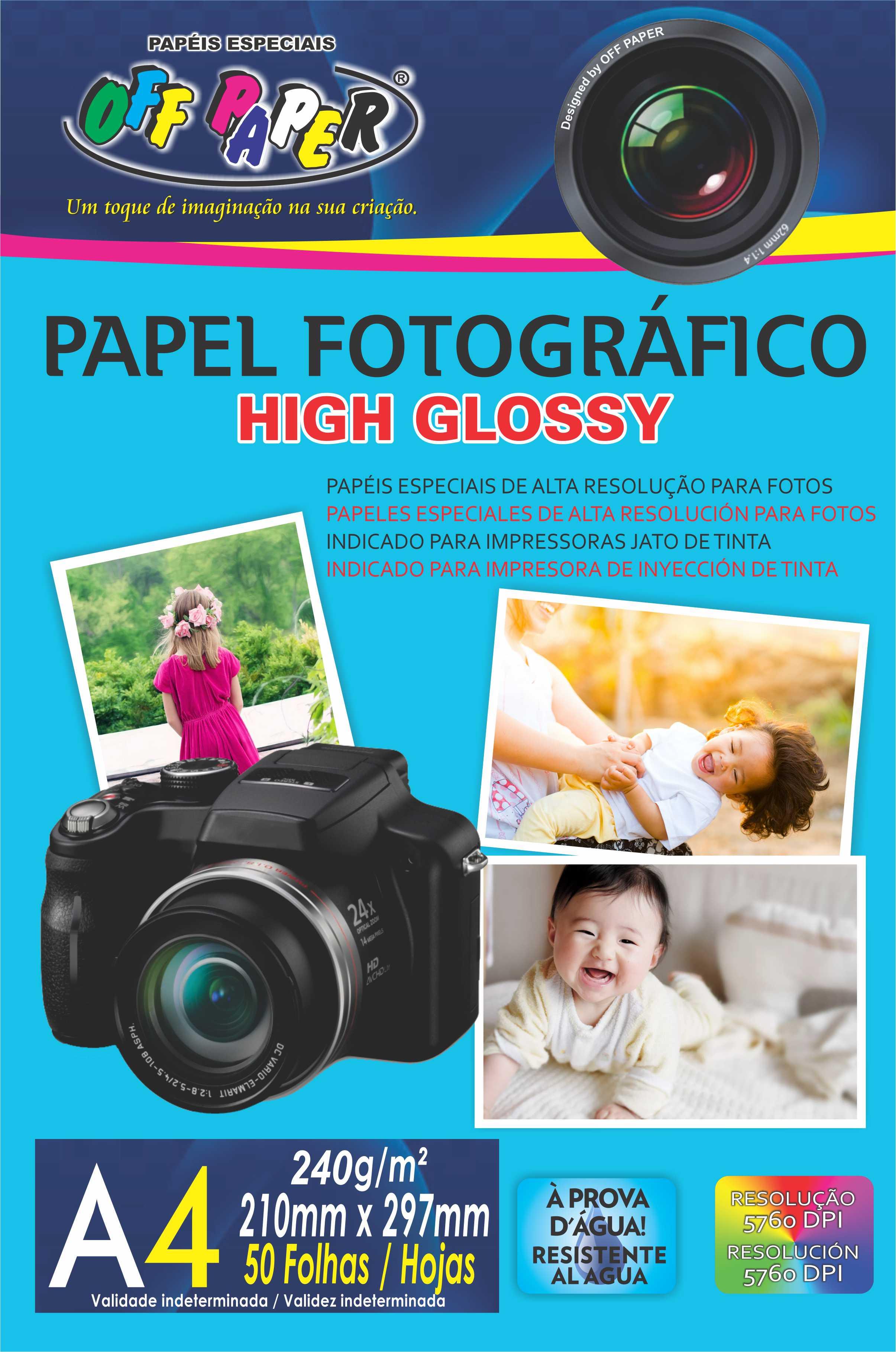 Papel Fotográfico High Glossy 240g- A4 com 50 Folhas